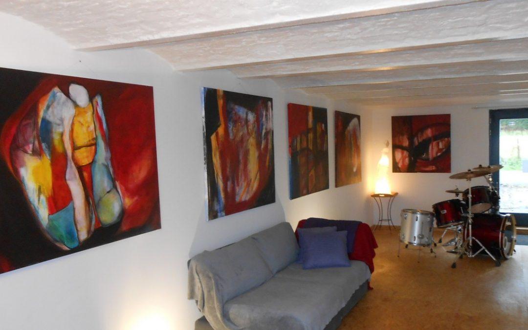 Aperçu de l'expo à l'atelier – Parcours d'artistes de Gembloux